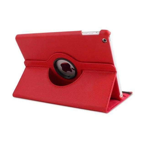 360 Degree Rotating Litchi Pattern Leather Smart Shell Case Cover for Apple iPad mini 1 2 3 - Red - Accessories