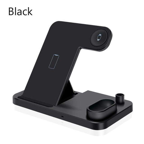 Image of 4 in 1 Wireless Charger 10W Fast Charging for Samsung iPhone Apple Watch Airpods - Black - Wireless Chargers