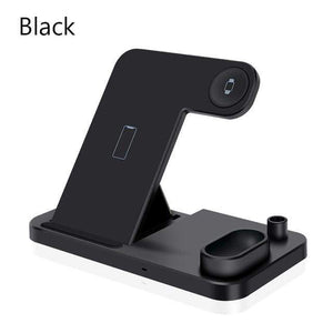 4 in 1 Wireless Charger 10W Fast Charging for Samsung iPhone Apple Watch Airpods - Black - Wireless Chargers