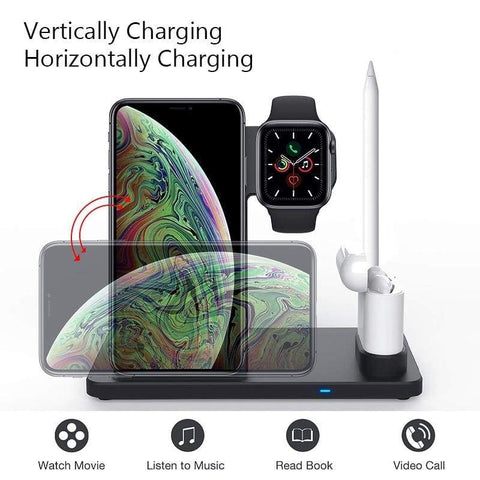 Image of 4 in 1 Wireless Charger 10W Fast Charging for Samsung iPhone Apple Watch Airpods - Wireless Chargers