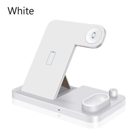 Image of 4 in 1 Wireless Charger 10W Fast Charging for Samsung iPhone Apple Watch Airpods - White - Wireless Chargers