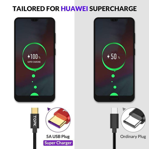Image of 5A USB Type C Cable Quick Charge for Huawei Mate 10 20 Fast Charging for Samsung - Charging Cables