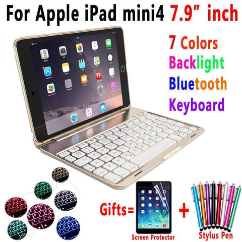 Image of 7 Color Backlit Aluminum Alloy Wireless Bluetooth Keyboard Smart Case Cover for Apple iPad mini 4 A1538 A1550 - Accessories