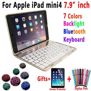 7 Color Backlit Aluminum Alloy Wireless Bluetooth Keyboard Smart Case Cover for Apple iPad mini 4 A1538 A1550 - Accessories