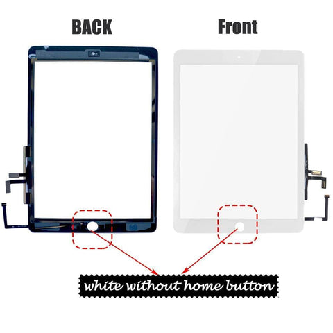 Image of Apple iPad Air 1 A1474 A1475 iPad 5 Touch Screen Front Glass Display Digitizer - White No Home Button