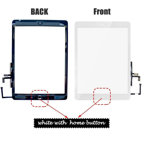 Image of Apple iPad Air 1 A1474 A1475 iPad 5 Touch Screen Front Glass Display Digitizer - White With Home Button