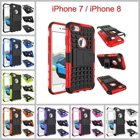 Image of Apple iPhone 7 / iPhone 8 Heavy Duty Armor Phone Case Cover with Stand - Cases