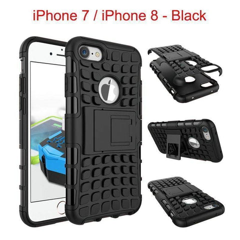 Image of Apple iPhone 7 / iPhone 8 Heavy Duty Armor Phone Case Cover with Stand - Black - Cases