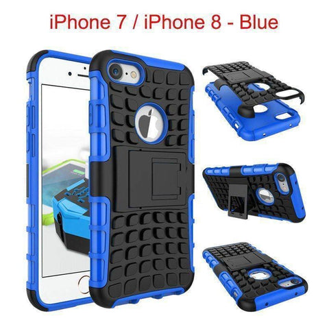 Image of Apple iPhone 7 / iPhone 8 Heavy Duty Armor Phone Case Cover with Stand - Blue - Cases