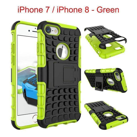 Apple iPhone 7 / iPhone 8 Heavy Duty Armor Phone Case Cover with Stand - Green - Cases