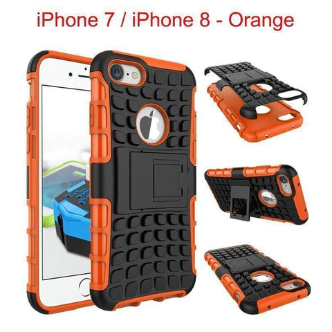 Image of Apple iPhone 7 / iPhone 8 Heavy Duty Armor Phone Case Cover with Stand - Orange - Cases