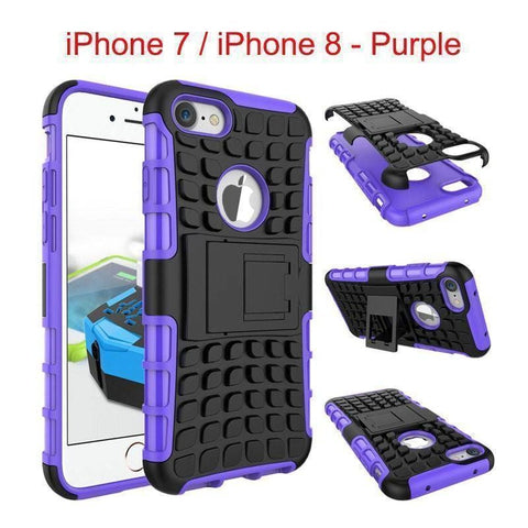 Image of Apple iPhone 7 / iPhone 8 Heavy Duty Armor Phone Case Cover with Stand - Purple - Cases