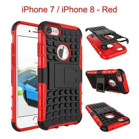 Apple iPhone 7 / iPhone 8 Heavy Duty Armor Phone Case Cover with Stand - Red - Cases