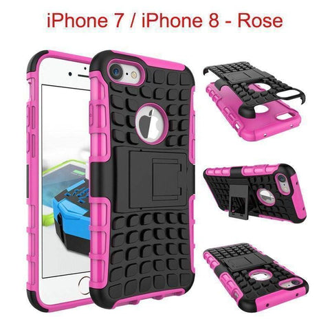 Apple iPhone 7 / iPhone 8 Heavy Duty Armor Phone Case Cover with Stand - Rose - Cases