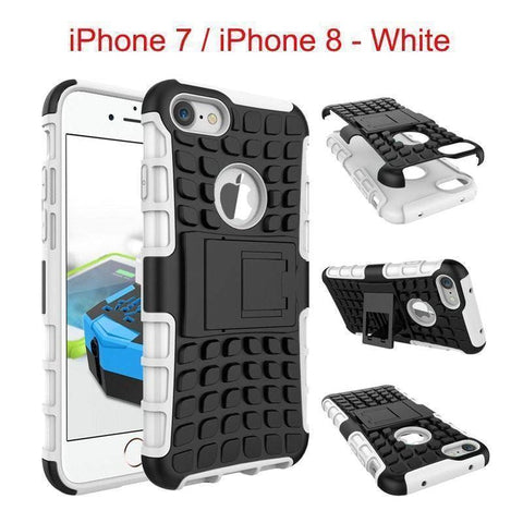 Image of Apple iPhone 7 / iPhone 8 Heavy Duty Armor Phone Case Cover with Stand - White - Cases