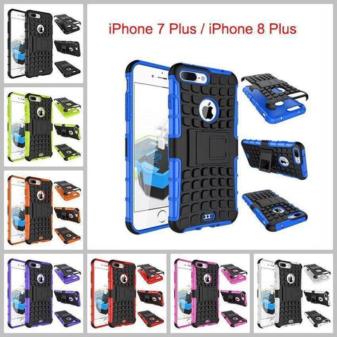 Apple iPhone 7 Plus / iPhone 8 Plus Heavy Duty Armor Phone Case Cover with Stand - Cases