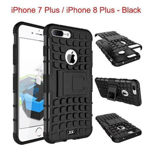 Apple iPhone 7 Plus / iPhone 8 Plus Heavy Duty Armor Phone Case Cover with Stand - Black - Cases