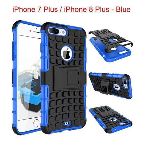 Apple iPhone 7 Plus / iPhone 8 Plus Heavy Duty Armor Phone Case Cover with Stand - Blue - Cases