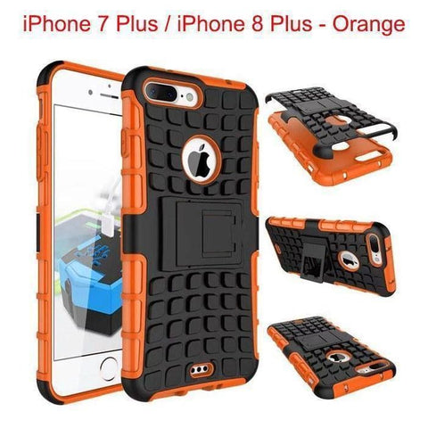 Apple iPhone 7 Plus / iPhone 8 Plus Heavy Duty Armor Phone Case Cover with Stand - Orange - Cases