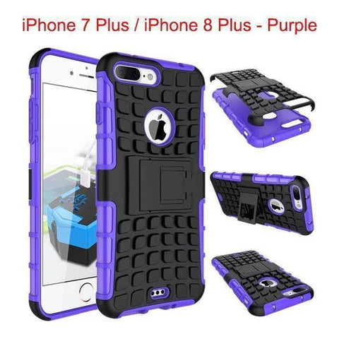 Apple iPhone 7 Plus / iPhone 8 Plus Heavy Duty Armor Phone Case Cover with Stand - Purple - Cases