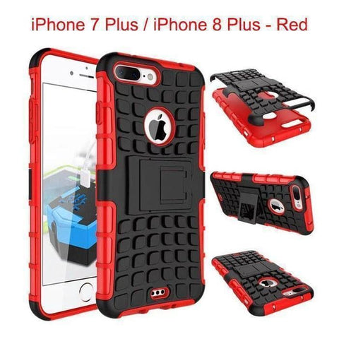 Apple iPhone 7 Plus / iPhone 8 Plus Heavy Duty Armor Phone Case Cover with Stand - Red - Cases