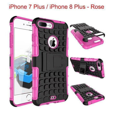 Apple iPhone 7 Plus / iPhone 8 Plus Heavy Duty Armor Phone Case Cover with Stand - Rose - Cases
