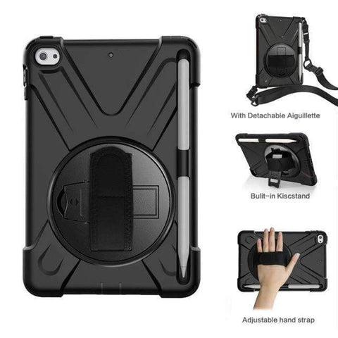 Image of Armor Silicon Shoulder Hand Strap Case for Apple iPad mini 4 mini 5 2019 - Black - Accessories