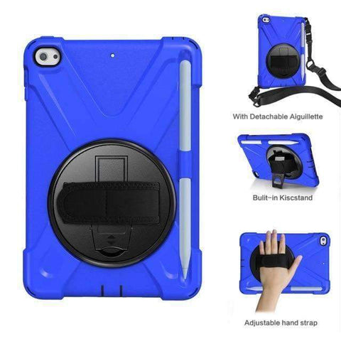 Armor Silicon Shoulder Hand Strap Case for Apple iPad mini 4 mini 5 2019 - Blue - Accessories