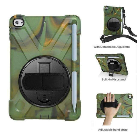 Image of Armor Silicon Shoulder Hand Strap Case for Apple iPad mini 4 mini 5 2019 - Camouflage - Accessories