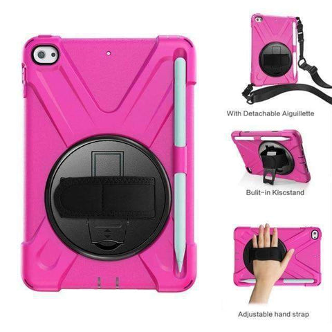 Armor Silicon Shoulder Hand Strap Case for Apple iPad mini 4 mini 5 2019 - Hot Pink - Accessories