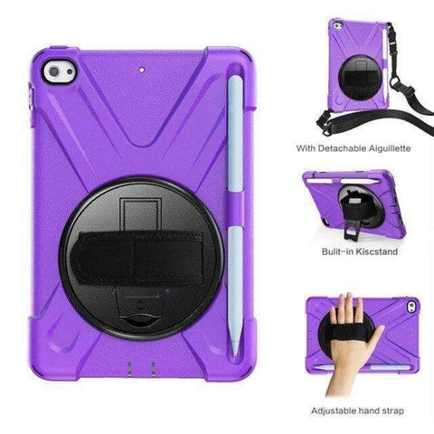 Armor Silicon Shoulder Hand Strap Case for Apple iPad mini 4 mini 5 2019 - Purple - Accessories