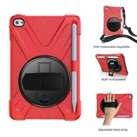 Image of Armor Silicon Shoulder Hand Strap Case for Apple iPad mini 4 mini 5 2019 - Red - Accessories