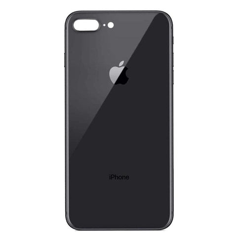 Image of Back Glass Rear Battery Door Cover Replacement iPhone 8 Plus A1864 A1897 A1898 - Black / OEM Small Camera Hole