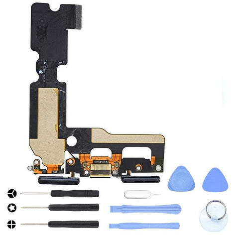 Image of Black Charging Dock Port Assembly Flex Cable for iPhone 7 A1660 A1778 A1779 - With Tool Kit - Charge Ports