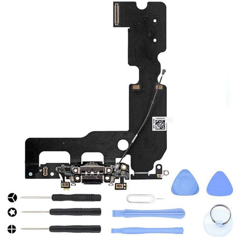 Black Charging Dock Port Assembly Flex Cable for iPhone 7 Plus A1661 A1784 A1785 - With Tool Kit - Charge Ports