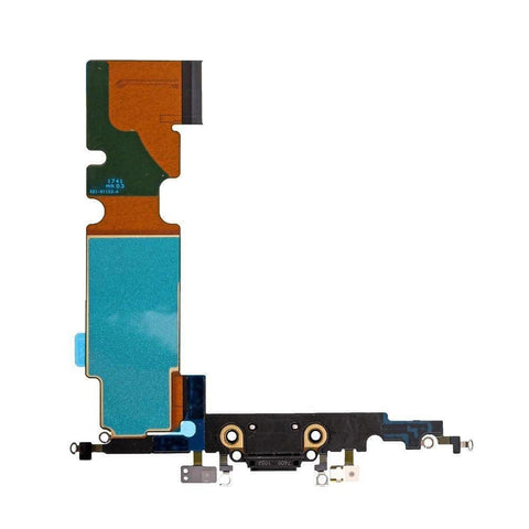 Image of New iPhone 8 Plus Charging Dock Port Assembly Flex Cable with Microphone - Black - Charge Ports