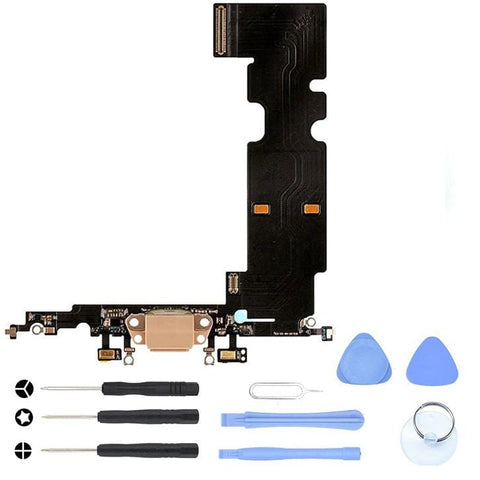 Image of Black Charging Dock Port Assembly Flex Cable for iPhone 8 Plus A1864 A1897 A1898 - With Tool Kit - Charge Ports