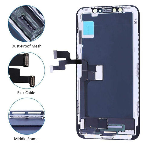 Image of Black LCD Touch Screen Digitizer Assembly with 3D Touch for iPhone X A1865 A1901 - LCDs & Digitizers