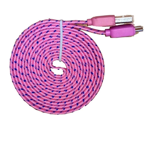Braided 6 Feet (6 FT) 2 Meter (2 M) Flat USB 3.0 Data Sync Charge Cable For Samsung Galaxy S5 i9600 Samsung Galaxy Note 3 N9000 N9005 - Pink