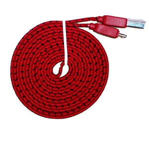 Braided 6 Feet (6 FT) 2 Meter (2 M) Flat USB 3.0 Data Sync Charge Cable For Samsung Galaxy S5 i9600 Samsung Galaxy Note 3 N9000 N9005 - Red