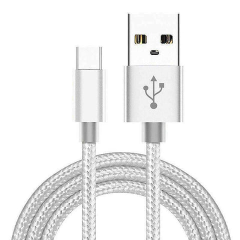 Braided Micro USB Charger Charging Cable for Samsung S7 / Edge S6 S5 LG G4 PS4 - 1m / Silver - Accessories