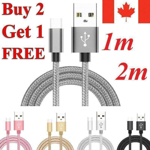 Braided Micro USB Charger Charging Cable for Samsung S7 / Edge S6 S5 LG G4 PS4 - Accessories
