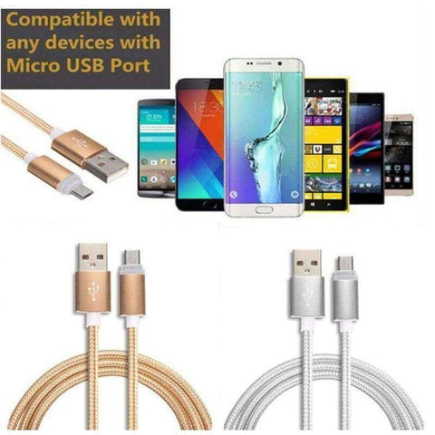 Braided Micro USB Charger Sync Cable for Samsung S5 S6 S7 Edge LG G3 G4 Nexus 5 - Accessories