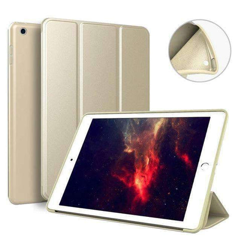 Case for Apple iPad mini 4 A1538 A1550 Cover Soft Silicone Back Magnet Smart Sleep Awake Foldable Leather - Gold - Accessories