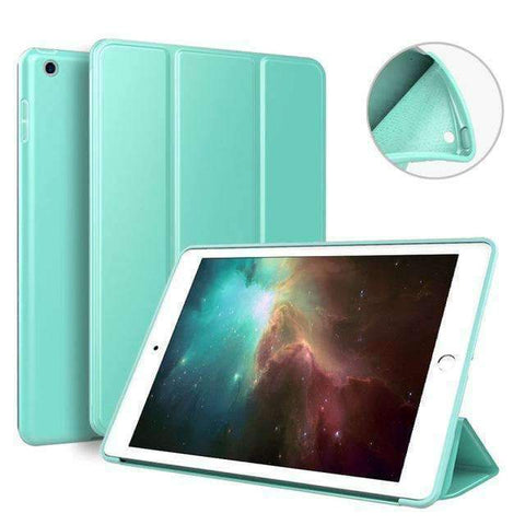 Case for Apple iPad mini 4 A1538 A1550 Cover Soft Silicone Back Magnet Smart Sleep Awake Foldable Leather - Mint Green - Accessories