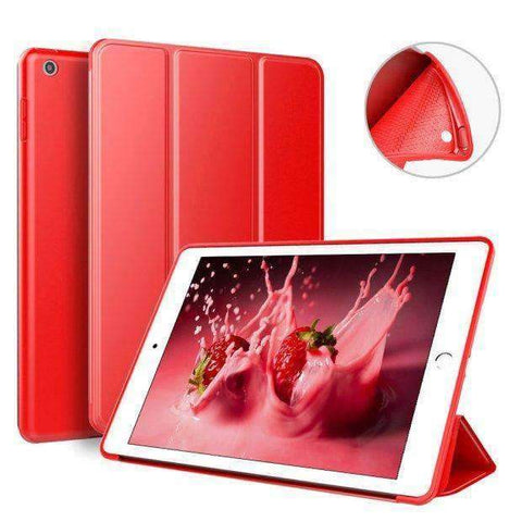 Case for Apple iPad mini 4 A1538 A1550 Cover Soft Silicone Back Magnet Smart Sleep Awake Foldable Leather - Red - Accessories