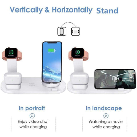 Image of Fast Charging Wireless Charger Stand 3 in 1 for Apple Watch Airpods Qi iPhone - Wireless Chargers