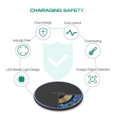 Image of Fast Qi Wireless Charger For iPhone X XS Max XR 8 Plus Samsung S8 S9 S10 Note 9 - Wireless Chargers