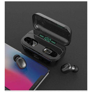 G02 TWS 5.0 Bluetooth Stereo Wireless Earphones IPX7 Waterproof 3300mAh Sport headset - black - Accessories