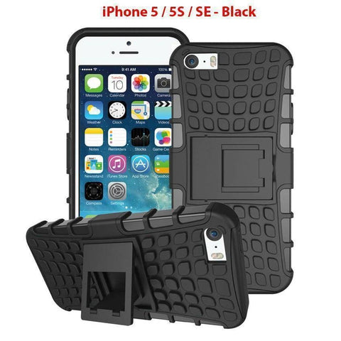 Heavy Duty Armor Phone Case Cover with Stand for iPhone 5 / 5S / SE - Black - Cases